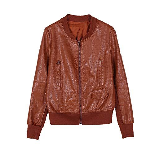 Leren damesjacks, plus size tops, korte jassen voor dames, leren jassen - bruin - M