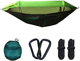 Camping Hammock with Rain Fly, Mosquito Net, Tree Straps and Carabiners, Portable Parachute Nylon Hammock with Bug Net, fo...