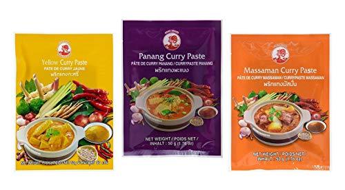 CockBrand 3 pastas de curry diferentes por g (Panang, Matsam