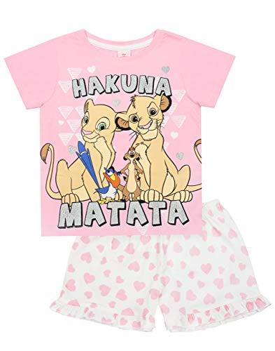 Pijamas Rosado Corto de Disney El Rey León Brillo Hakuna Matata de la Muchacha