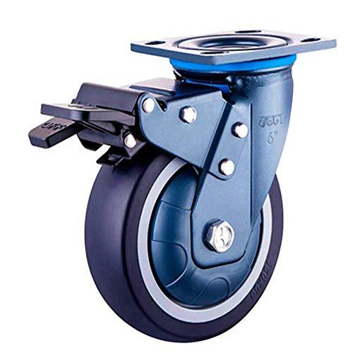 N/Z Daily Equipment Ruedas para sillas de Oficina Rueda Resistente Poliuretano para Carrito Almacenamiento Industrial Orientación logística/Universal/Rueda de Freno Fácil instalación (Tamaño: 8 pul