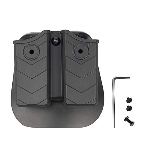 OneTigris Universal Double Magazine Holster Fits 2' Belt   OWB Polymer Paddle Holster for Most 9mm .40 Glock 17 19 22 M&P Shield 9mm Sig P320