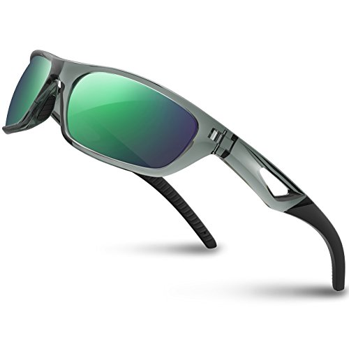 RIVBOS Polarized Sports Sunglasses Driving Sun Glasses Shades for Men Women Tr 90 Unbreakable Frame for Cycling Baseball Run Rb831 (Transparent Grey)