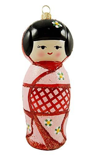 Kokeshi Doll Asian Japanese Japan Folk Girl Pink Polish Glass Christmas Tree Ornament Souvenir Travel