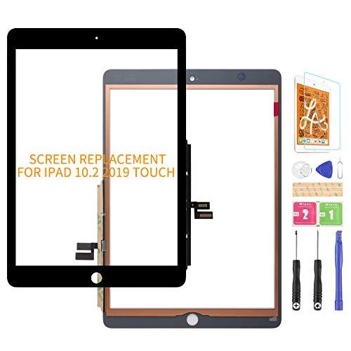 Para iPad 10.2 pulgadas 2019 7th pantalla táctil digitalizador reemplazo de vidrio, para iPad 7 8 A2197 A2198 A2428 panel de piezas de reparación(sin botón de inicio) (negro)