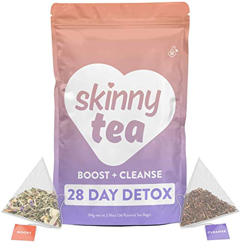 Skinny Tea 28 Day Detox Tea for Weight Loss and Reduced Tummy Bloating: The Original 2-Step Detox Tea Program Includes 28 Morning Boost & 28 Evening Cleanse Pyramid Tea Bags