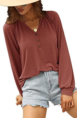 Odosalii Camiseta de manga larga para mujer, cuello en V, elegante blusa con botones, parte superior sexy,...