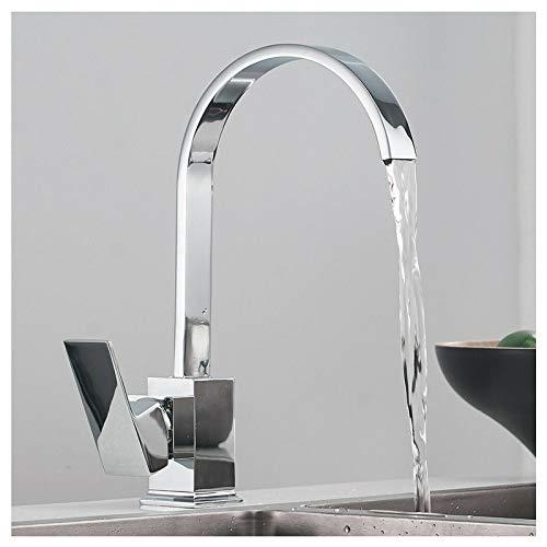 Keukenkraan 360o Draaibare Tuit Sink Mixers Vierkant Single Lever Mono Gepolijst Chroom Waterval Kraan met Slang