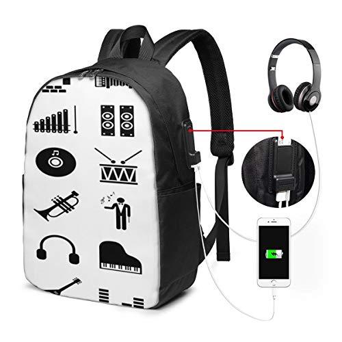 """WEQDUJG Mochila Portatil 17"""" Pulgadas Mochila Hombre Mujer con Puerto USB, Pictograma de música de Piano de símbolo Mochila para El Laptop para Ordenador del Trabajo Viaje"""