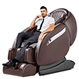 OOTORI Massage Chair Recliner, Zero Gravity Full Body SL-Track, Shiatsu Electric Massage Chair with Stretching Tapping Heating Yoga Massage Back and Foot Massagers (Brown)