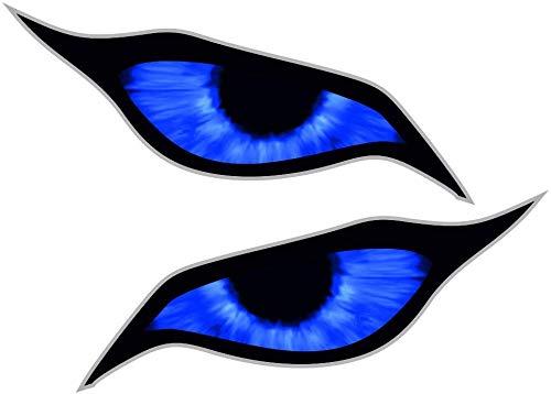 Paar Blue Demon Evil Eyes Eye Design voor Motorhelm Drone etc. Externe Vinyl Auto Sticker Decal 70x30mm Elk