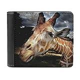 Wildlife Giraffe - Cartera de cuero minimalista para hombre, diseño de jirafa, White, Talla única