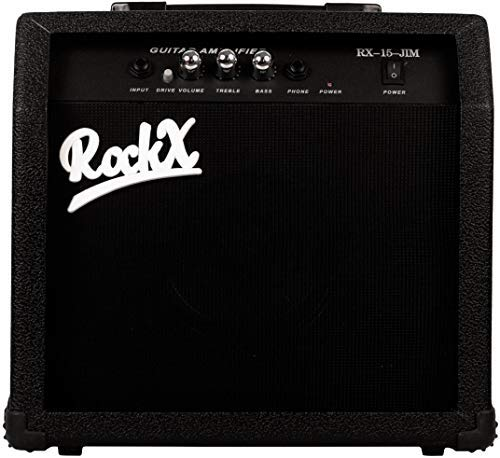 RockX Guitar Amplifier RX-15-JIM 15 Watt with Gain Distortion, 1 Input, Bass & Treble Equalizer, Plus 5 Meter Aux Cable 6.5 mm Jack, Sling Bag, Weather Protect Cover, 1 Year Warranty (Black)