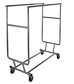 """Only Garment Racks Commercial Grade Double Rail Rolling Clothing Rack, Heavy Duty - Designed with Solid """"One Piece"""" Top Rails and Base. Heavy Gauge Steel Construction, Rack Weighs 39 Lbs. (B07886BSBR) 
