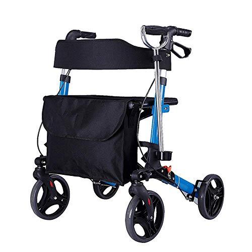 PAP 4 Wheel Mobility Rollator Aluminium Reiswiel met Seat Walkers voor Seniors, blauw, een
