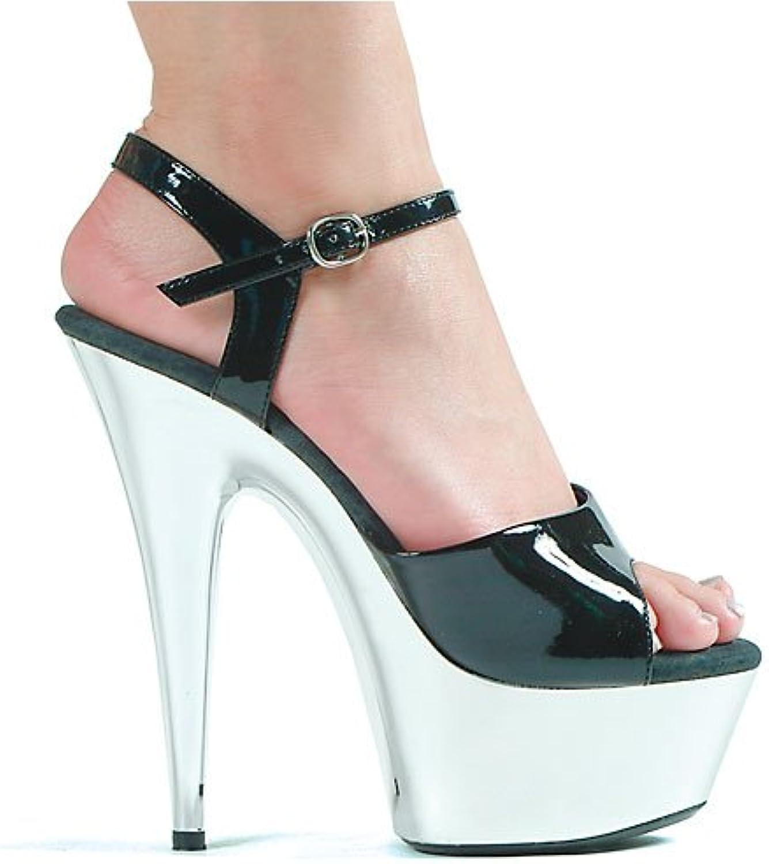 Ellie shoes Women's 6 Inch Pointed Chrome Stiletto Sandal (Black Silver;5)