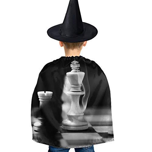 Amoyuan Unisex Kids Kerst Halloween Heks Mantel Met Hoed Vintage Zwart Wit Schaken Koning Wizard Cape Fancy Jurk
