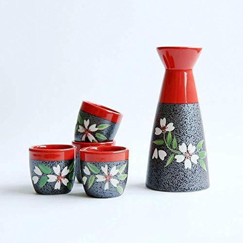 DIHAO Sake Set,5 Pieces Traditional Sake Cup Set Ceramic Cups Crafts Wine Glasses,Tea Set Gift,D
