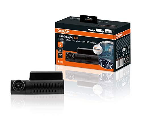 OSRAM ORSDC50 ROADsight 50, Dashcam Frontkamera, Full HD 1440p, 30fps, 140° Weitwinkel, WLAN-fähig, App-fähig, G-Sensor, GPS, Parkmodus, mit Rückkamera kombinierbar