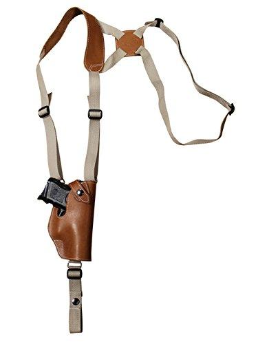 Barsony New Saddle Tan Leather Vertical Shoulder Holster for Colt 1911 Officer 4in Left