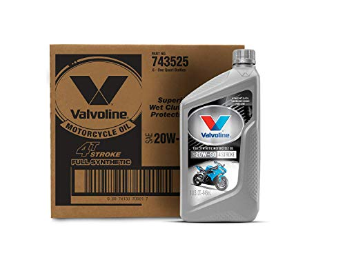 Valvoline 4-Stroke Motorcycle Full Synthetic SAE 20W-50 Motor Oil 1 QT, Case of 6