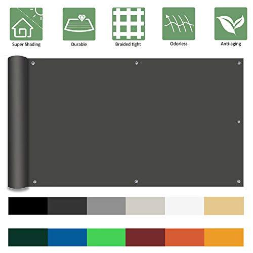 Ziligengsheng Balkon Sichtschutz PVC 105x900cm, Windschutz Sonnenschutz, atmungsaktiv, Deko für Balkongeländer, Terrasse, Garten, Anthrazit