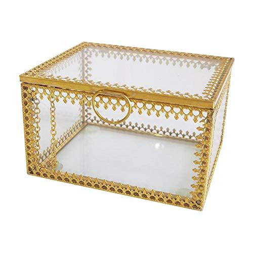YHDNCG Joyero, caja de cristal de la baratija, caja decorativa de recuerdo, para regalo de boda, pendientes collar caja de almacenamiento de joyería