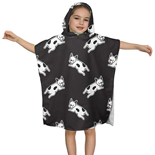 JASMODER French Bulldog Black and White Hooded Baby Towels Swim Beach Bath Towel for Kids Boys Girls 2 to 7 Years Old,24x24 Inches