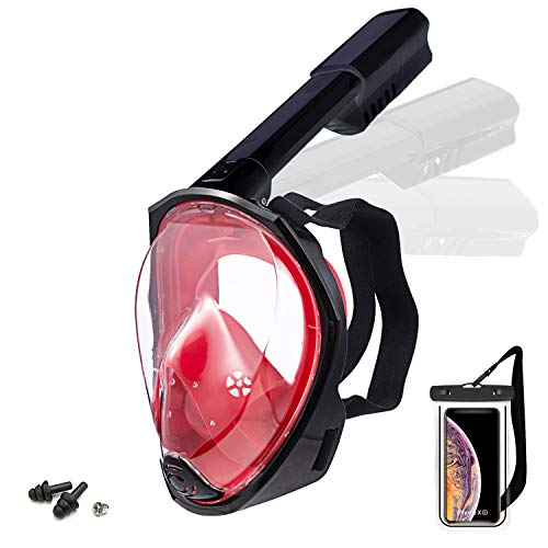 Foldable Full face Snorkeling mask with New Safety Breathing System, 180-degree Panoramic View, Waterproof and Anti-Fog, with Camera Stand, Universal Snorkeling mask(S M)