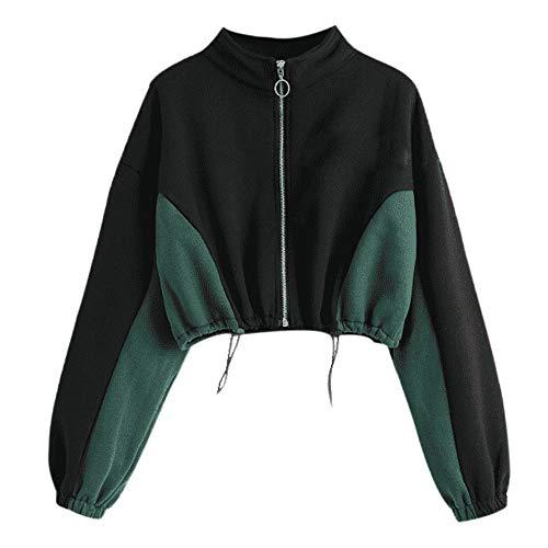 Sannysis Hoodie Damen Bauchfrei Kapuzenpullover Rundhals Zipper Sweatshirt Langarm Short Top Sweatshirt Bluse