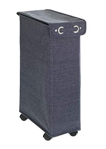 WENKO Wäschesammler Corno mit Deckel Prime Blau Meliert, stabiler Wäschekorb mit Verstärkungs-Stangen und vier leichtgängigen Rollen, 43 l Stauraum in einem Fach, (B x H x T): 18.5 x 60 x 40 cm