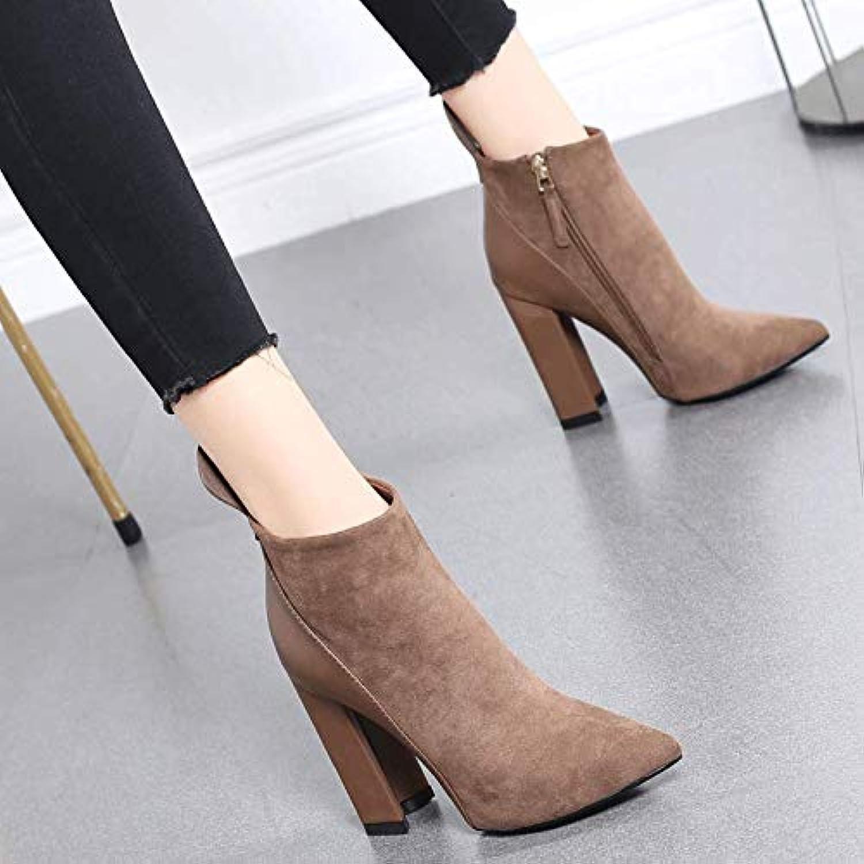 HRCxue Pumps Martin Stiefel Damenstiefeletten dick mit Spitzen Wildleder-Nähten, super hohem Absatz und nackten Stiefeln  | Leicht zu reinigende Oberfläche