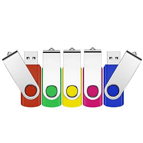 Memoria USB de 32 GB, USB 2.0, mini unidad flash USB con cordón, para ordenador, tableta, regalo de Navidad o cumpleaños (5 unidades)