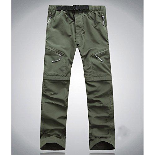 Pantalon de randonnée ACHICOO Lanlan - Amovible - Séchage rapide - Convertible - Pour extérieur - Camping - Trekking - Homme - Femme - L - Vert armée - Vert - Avec panneau lumineux sans logo - M