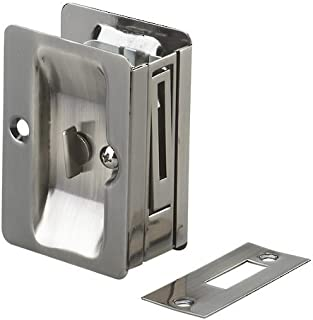Onward 1701ANPSBC Pocket Door Pull with Privacy Lock - Rectangular, Antique Nickel