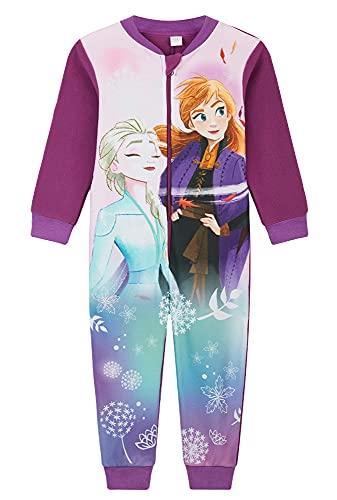 Disney Pijama Entero Niña, Mono Forro Polar Frozen, Onesie de Manga Larga con Dibujos De Anna y Elsa Edades 18 meses-10 años (Morado / Lila, 9-10 años)