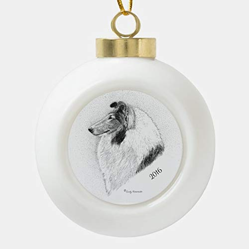 Dom576son Christmas Ball Ornaments, Rough Coat Collie Pen and Ink by Cindy Alvarado Ceramic Ball Christmas Ornament, Shatterproof Christmas Decorations Tree Balls for Holiday Wedding Party Decoration
