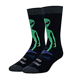 Zmart Men Novelty Alien Bigfoot Astronaut Socks Poker American Flag Mahjong Socks 1 ★【ALIEN SOCKS】Alien socks for space enthusiasts. Black socks feature a Green Alien. Wear these unique alien socks, making it known you are a true alien believer for the world to see. ★【SIZE & PACKING】Funny space socks. Fit for sock size 8-14, mens shoe size 7-13. 1 pair comes in each plastic zippered bag. ★【QUALITY MATERIAL】Novelty universe socks. We use 80% Cotton, 17% Polyamide, and 3% Spandex to ensure that our socks are soft, comfortable, and stretchy and breathable. No fading and durable.