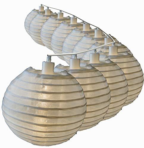 Lampion Lichterkette mit 25 LED Lampions weiß Ø 15 cm für außen Strom von Gartenpirat®