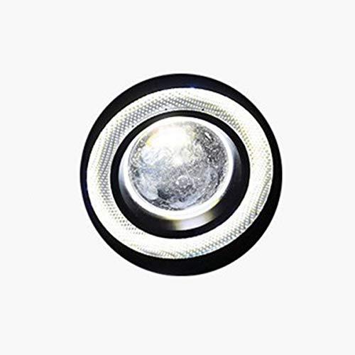 Sunnyflowk LED Nebelscheinwerfer Weiß COB Halo Angel Augenringe für Tagfahrlicht DRL Car Driving Lights Projektor (Weiß)