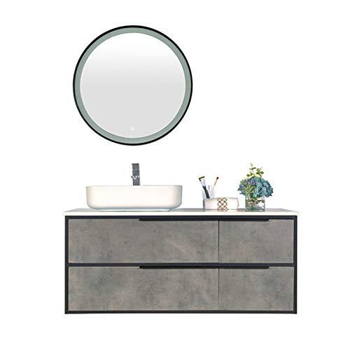 JenLn Gabinete de baño de Madera de Espejo Inteligente Vanidad de Inodoro Combinado Fregadero de cerámica con gabinete de Medicina. (Color : Gray, Size : 50x120x85cm)