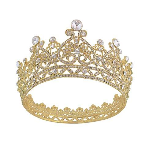 Crown Cake Topper, Königin Krone für Frauen Rose Gold Kronen und Diademe Strass Hochzeit Krone Tiara Kostüm Party Haarschmuck Geburtstag Festzug Prom