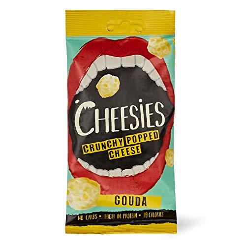 Palline Croccanti di Snack al Formaggio Cheesies, Gouda. Senza Carboidrati, ad Alto Contenuto di Proteine, Senza Glutine, Vegetariano, Keto. 12 Sacchetti da 20g.