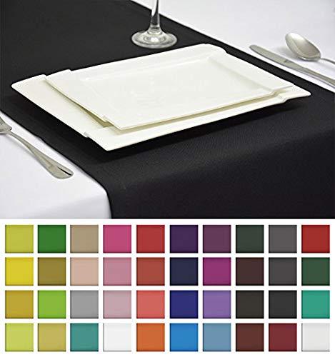 Rollmayer Edle Tischläufer Tischdecke Tischtuch Tischwäsche Pflegeleicht Kollektion Vivid (Schwarz 34, 40x180cm)