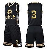 QJJ Camiseta de baloncesto Allen Iverson para hombre, versión retrato de Philadelphia 76ers #3 Golden Star uniforme, traje de entrenamiento, ropa deportiva para adultos y niños 3XS