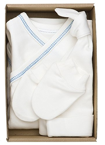 The Dida World Nones - Pack Naissance avec 1 Body Kimono repunte Bleu, Gants et Bonnet, Taille 0 Mois
