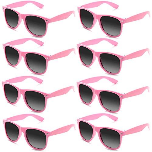 FSMILING 8 Stück Neon Farben Partybrillen Großhandel 80er Jahre Retro Klassisch Promo Sonnenbrille(pink)