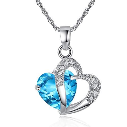 WANGJINQIAO Collares de mujer en 6 colores, colgantes de cristal para joyería de mujer, joyería exquisita de moda, collares, collar de joyería (color: azul ácido)