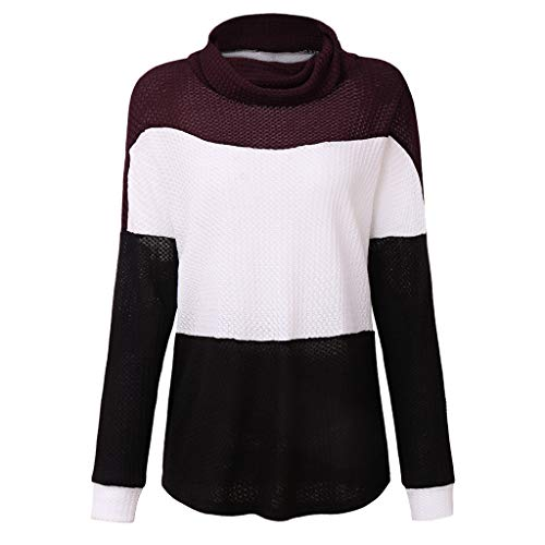 general3 Women Long Sleeve Knitting Sweater Color Block Turtleneck Hollow Out Loose Chunky Cable Knit Pullover Blouse (Wine, Small) from general3