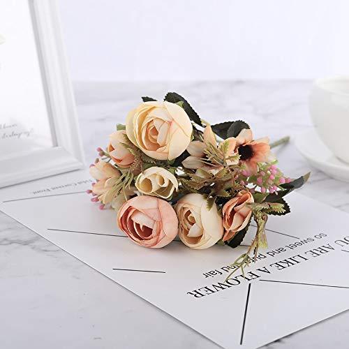 Artificial Flowers Soie Bricolage Daisy camélia Fleurs artificielles Petite Rose Bride Bouquet de Noël Party Décor Faux Faux Fleurs de Mariage Décoration (Color : Daisy Rose Yellow)